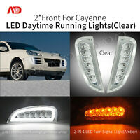 Clear LED DRL Daytime Running Lights Turn Signal For 2006-2010 Porsche Cayenne