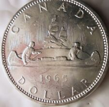 1965 CANADA DOLLAR - AU PROOFLIKE - Excellent Silver Crown Coin - Lot #J18