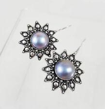 Stunning & Intricate Black Mabe Pearl & Sterling Silver Star Drop Hook Earrings