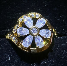 Yellow Gold Filled Modern Flower Design Ring . Created White Sapphires Size M