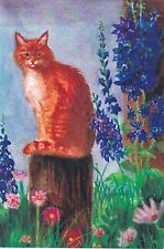 RARE Red cat sittin on the stump flowers by Yakubson Russian modern postcard