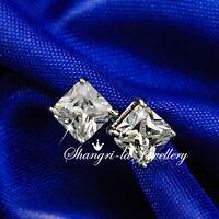 9K WHITE GOLD GF Princess Cut 6MM with SWAROVSKI DIAMOND Stud EARRINGS EX113