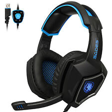 SADES Spirit Wolf 7.1 Surround Sound Stereo Gaming Headset USB with MIC Blue