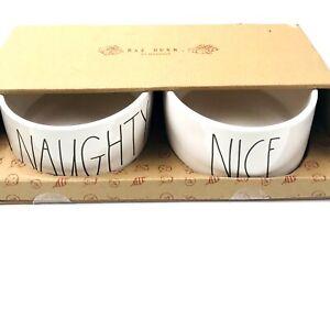 Rae Dunn Magenta Ivory Ceramic Farmhouse LL NAUGHTY NICE Pet Dog Dish Bowl Set