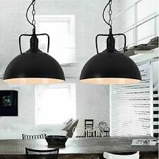 2x Hanging Chain Cord Pendant Light Ceiling Dome Kitchen Lamp Fitting Chandelier