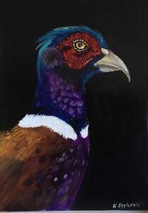 Original oil painting. Pheasant , bird, wildlife . Signed K Eggleston