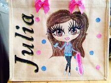 Personnalisé peint à la main toile de jute sacs dansant-school-uni-anniversaire ...