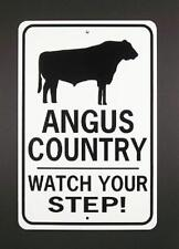 Angus Country Watch Your Step! 12X18 Aluminum Cow Sign Won't rush or fade