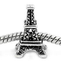 Paris Eiffel Tower European Bead Charm For Large Hole Charm Bracelets