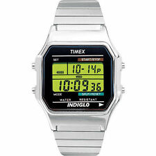 Timex T78587, Men's Digital Silvertone Expansion Watch, Alarm, Indiglo, Alarm