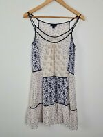 WITCHERY Patchwork Silk A-Line Slip Dress Women's Size 8 Summer Lightweight