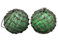Buoy Balls, Green Glass Rope, Set of Two!