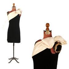 Vintage 80s St John Black + Cream Satin Knit Avant Garde Bow One Shoulder Dress