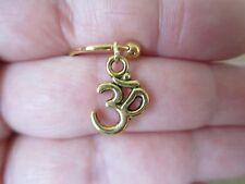 "Gold Ohm Yoga Cartilage Piercing Captive Ring Tragus Earring 14 Gauge 1.6mm 1/2"""