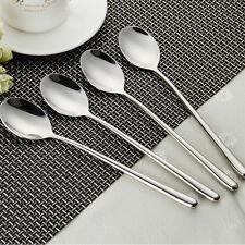 4pc Stainless steel Long Handle Dinner spoon Kitchen Table Spoon Round Teaspoon