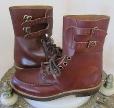 VTG 1950's DEADSTOCK Boy's Oxblood COMBAT HIGH-TOP BOOTS w/RARE ARMY MAN Graphic