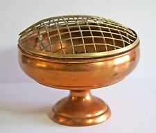 Vintage copper rose or flower bowl with brass double layer mesh