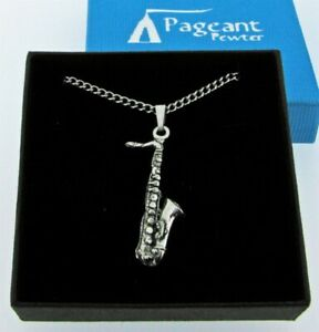 Saxophone Silver Pewter Pendant On A Chain
