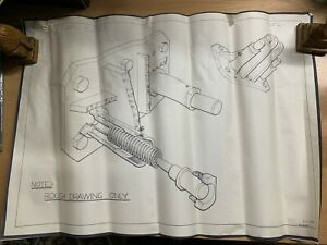 1958 HUGE VINTAGE TECH SHEET OF SAFETY GUARD BUFFER (RAILWAY?) 53cm x 76cm