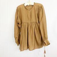 Anthropologie SUNNER Womens 100% Silk Brown Boho Tunic Blouse Size S/XS