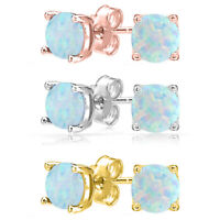Solid 14K White Gold Round Genuine Opal October Stud Earrings Sizes 2mm-7mm