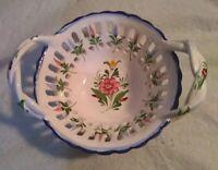 Vintage RC&CL Porcelain Open Weave Bridal Basket Hand Painted  Portugal signed