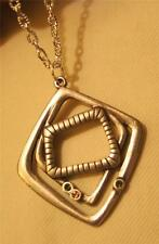 Handsome Layered Silvertone Rhombus Abstract Rhinestone Pendant Necklace