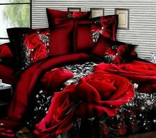 Luxury 3d Rose Flower Print Bedding Duvet Cover Sheet Pillowcases 4pcs Set Queen