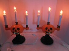 Gemmy Halloween Pumpkin Candelabras Lot of 2 Flickering Lights w/ Boxes