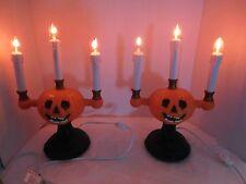 Gemmy Halloween Pumpkin Candelabras Lot of 2 Flickering Lights w/ Boxes
