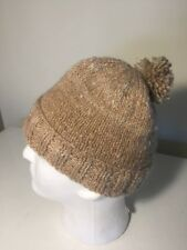 Knitted 100% Handspun Sheep Alpaca Beanie FAWN -  Size Medium