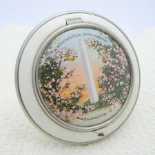 VTG Washington Monument D.C. Litho White & Silver Souvenir Lady Powder Compact