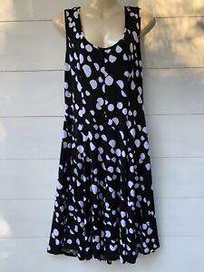 🤍Joseph Ribkoff   Black & White Spot Dress   Stretchy   Sleeveless   Size 12