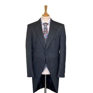 Mens Charcoal Grey Herringbone Tailcoat /  Wedding / Ascot / Formal