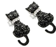 925 STERLING SILVER LADIES CAT SHAPE STUD EARRINGS W/ BLACK & WHITE DIAMOND