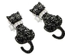 925 STERLING SILVER LADIES CAT SHAPE STUD EARRINGS W/ BLACK & WHITE DIAMOND