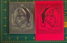 Santa Postage LARGE UM rubber stamp Happy Holidays!