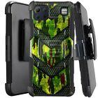 Holster Case For LG K92 5G (2020) Hybrid Kickstand Phone Cover -GREEN CAMO BADGE