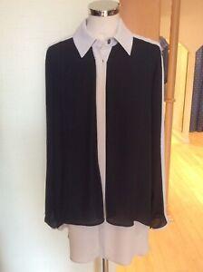 Joseph Ribkoff Blouse Size 10 BNWT Black Beige  Layered Fabric RRP £213 Now £69