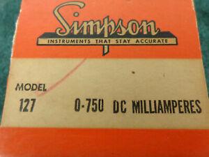 Simpson Panel Meter #127  0-750 DC Milliamperes...New Old stock