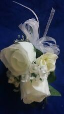 1 custom wrist tie on  CORSAGE White Roses  Customized Wedding Mother Bride
