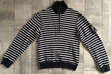 $677 Dolce /& Gabbana Men/'S White Striped Pullover V-Neck Sweater Sweatshirt M