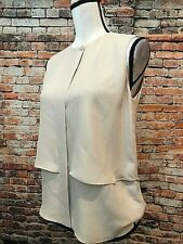 THEORY Cream Tiered Layered Sleeveless Silk Blouse Top, Front Button, Sz SP