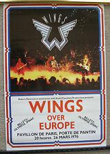 Original 1976 Wings Paul McCartney concert poster Paris France Wings Over Europe