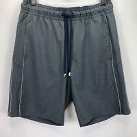 Vilebrequin Mens Casual Drawstring Elastic Waist Flat Front Shorts Gray S