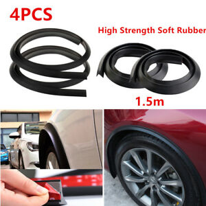 4pcs Car Wheel Fender Extension Moulding Flares Trim Strip Edge 1.5m Black Valid