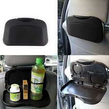 Auto Black Seat Back Portable Foldable Food Drink Tray Table Cups Hanging Holder