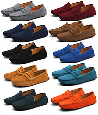 New Men's Minimalism Driving Loafers Slip on soft Suede moccasins penny shoes