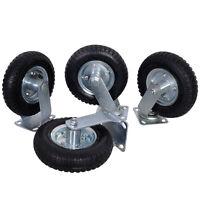 """4Pcs 8"""" Air Tire Caster Wheel 2 Rigid + 2 Swivel Wheel Farm Wheels Durable"""