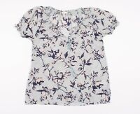 Joie Blue Floral Print Short Sleeve Silk Blouse Top Size S Small